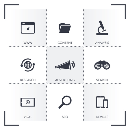digital marketing: DIGITAL MARKETING ICON SET