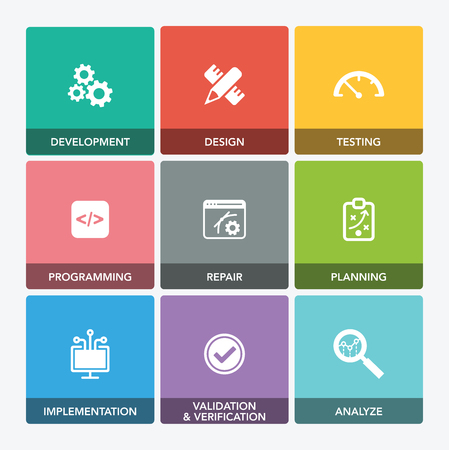 SOFTWARE ENGINEERING ICON SET Vettoriali