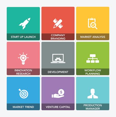 investor: START UP AND DEVELOPMENT ICON SET