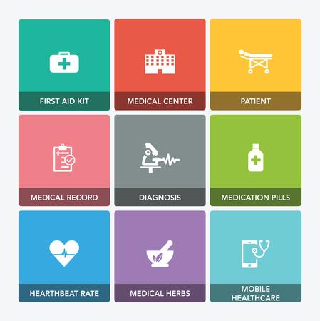 healthcare and medicine: MEDICINE AND HEALTHCARE ICON SET Illustration