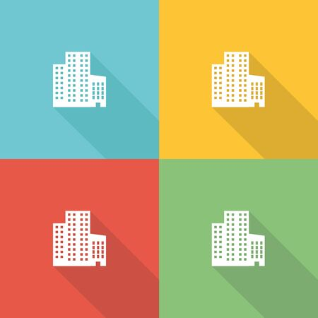 Office Building Flat Icon Concept Royalty Free Cliparts Vectors