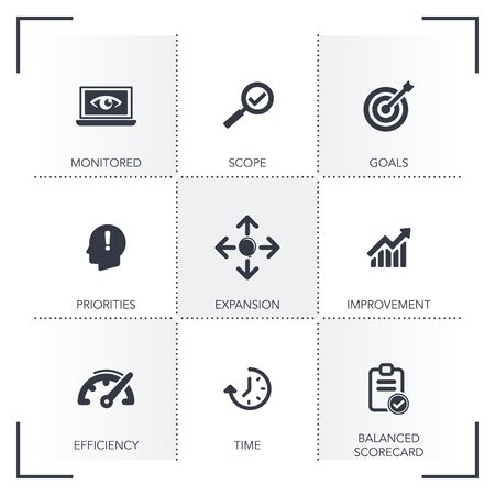 PERFORMANCE MANAGEMENT ICON SET Illustration