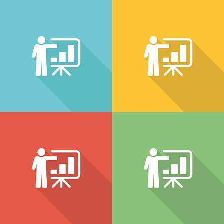 congress center: Training Seminar Flat Icon Concept