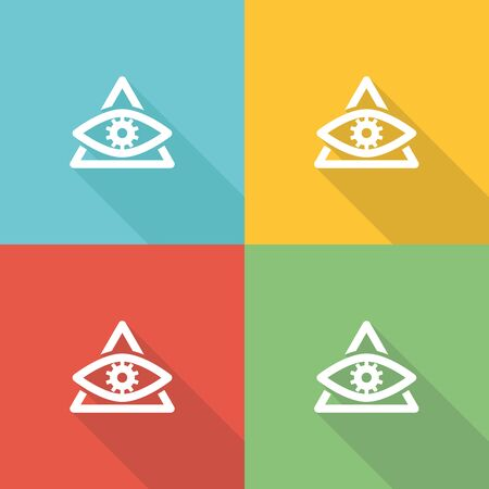 Overseeing Flat Icon Concept Illustration