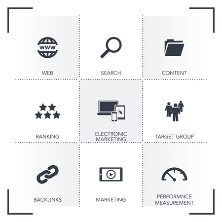 SEARCH ENGINE MARKETING ICON SET