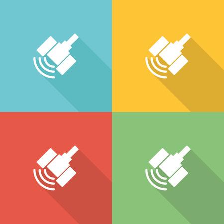Satellite Flat Icon Concept Illustration