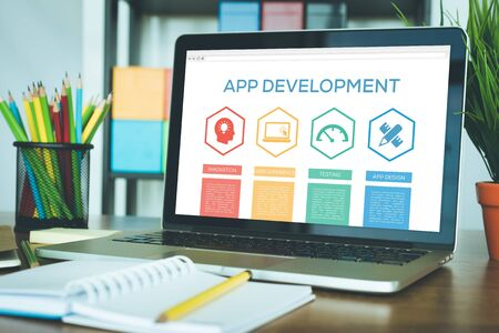 App Development Innovation User Experience App Design Testing Word With Icons Stock Photo
