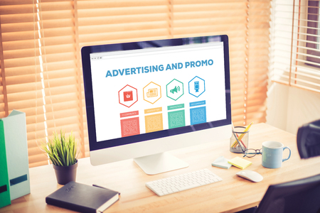 e commerce: Advertising and Promo E-commerce Newsletter Promotion Ad Campaing Word With Icons