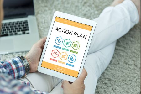 plan do check act: Action Plan Creativity Innovation Management Strategy Word With Icons