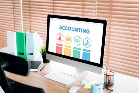 accounts payable: Accounting Payable Savings Credit Revenue Word With Icons