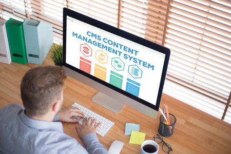 domains: CMS Content Management System Domain Programming Network Storage Word With Icons