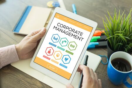 Corporate Management Leadership Partnership Personal Desk Productivity Word With Icons Stock Photo