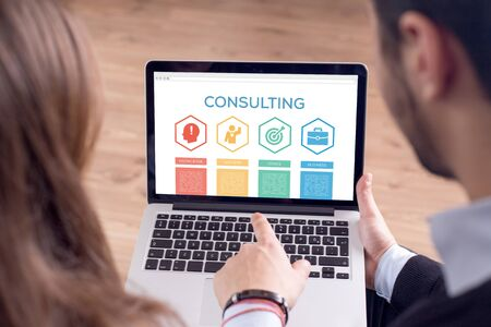knowledge business: Consulting Knowledge Success Goal Business Word With Icons Stock Photo