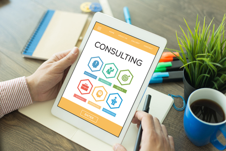 Consulting Knowledge Success Goal Business Word With Icons Stock Photo