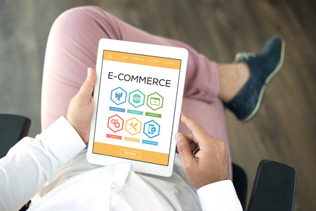 e commerce: E Commerce Maintenance Internet Advertising System Word With Icons
