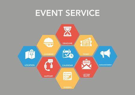 dinner date: Event Serv?ce Icon Concept Illustration