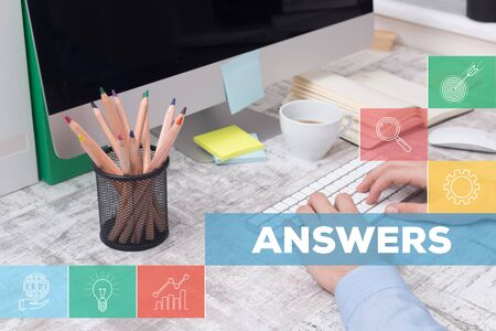 warranty questions: ANSWERS CONCEPT Stock Photo