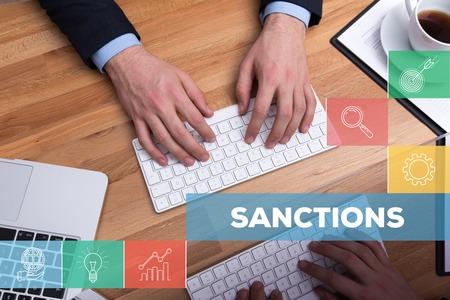 sanctioned: SANCTIONS CONCEPT Stock Photo