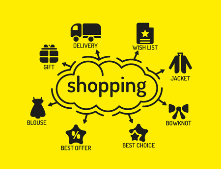 aisle: Shopping Chart with keywords and icons on yellow background Illustration