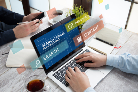 icons site search: SEARCH ENGINE MARKETING CONCEPT Stock Photo