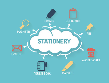 pen and marker: Stationery - Chart with keywords and icons - Flat Design