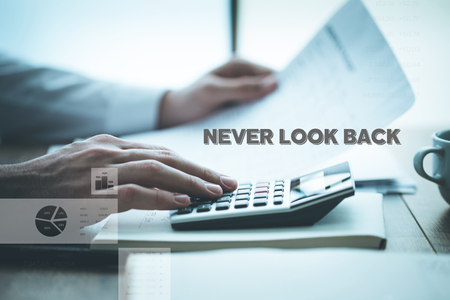 NEVER LOOK BACK CONCEPT Stock Photo