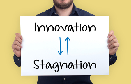 INNOVATION-STAGNATION CONCEPT Stock Photo