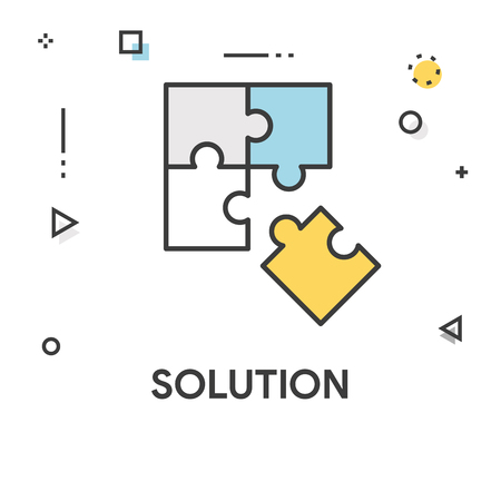 Icono De Línea De Color De Solución Ilustraciones Vectoriales, Clip ...