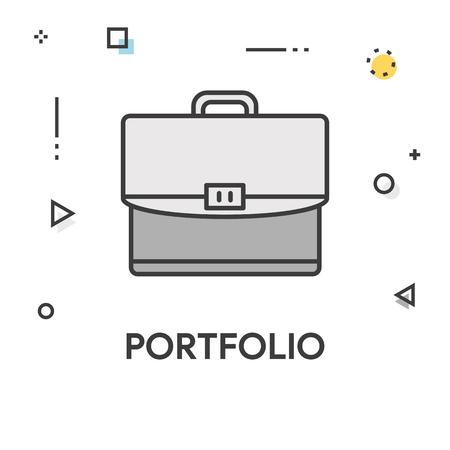 Portafolio Icono De Línea De Color Ilustraciones Vectoriales, Clip ...