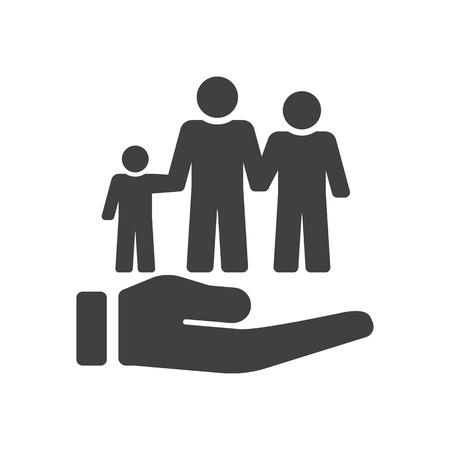 社会保障の概念図。  イラスト・ベクター素材