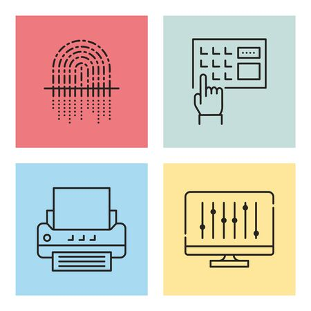 An illustration of a printer, a computer monitor and a hand dialing a telephone.
