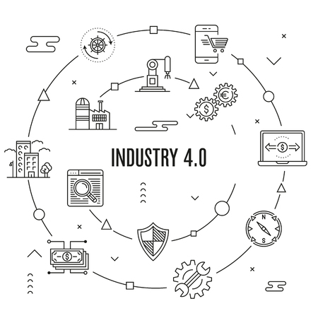 Industry 4.0 Concept vector illustration. Stock Illustratie