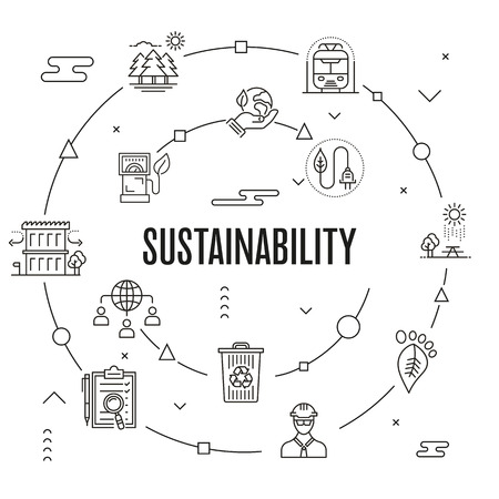 Ilustracja wektorowa koncepcja zrównoważonego rozwoju.