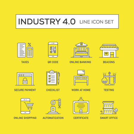 Industry 4.0 Concept on yellow background, vector illustration. Illustration
