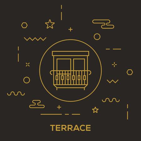 Terrace Concept vector illustration. Stock Illustratie