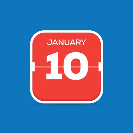 January 10 Calendar Flat Icon