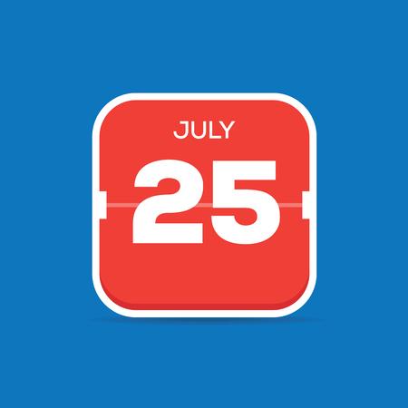 July 25 Calendar Flat Icon Ilustração