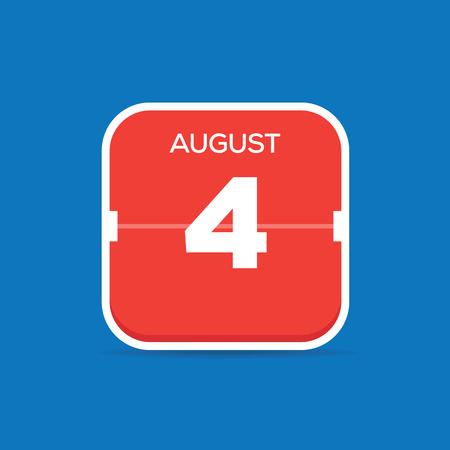 August 4 Calendar Flat Icon