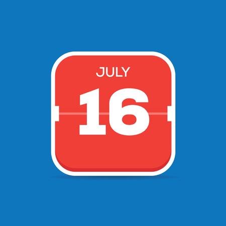 July 16 Calendar Flat Icon
