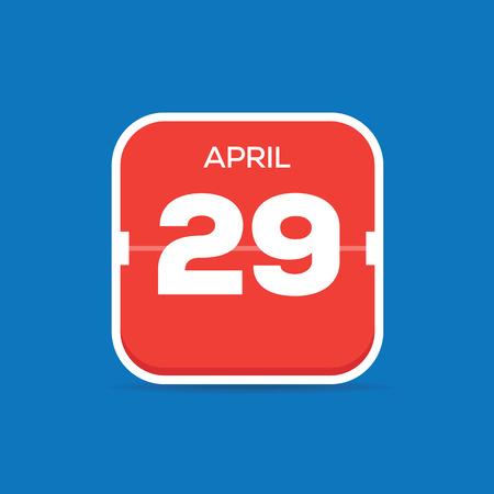 April 29 Calendar Flat Icon Illustration