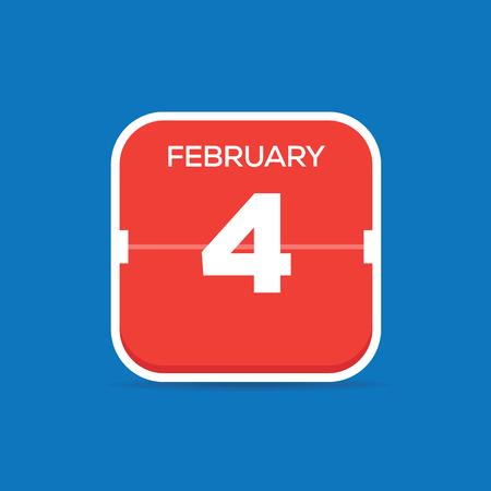 February 4 Calendar Flat Icon