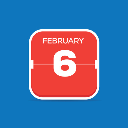 February 6 Calendar Flat Icon  イラスト・ベクター素材
