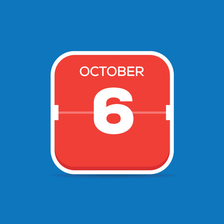 October 6 Calendar Flat Icon