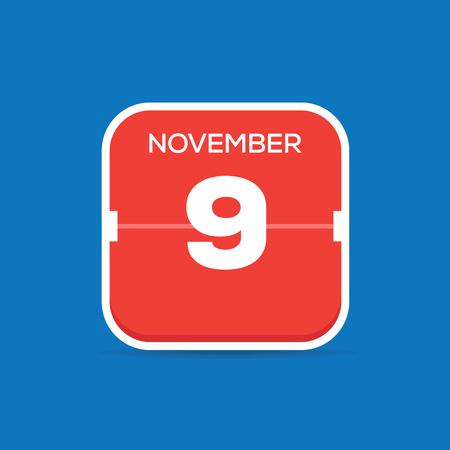 November 9 Calendar Flat Icon