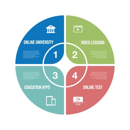 Online Education Infographic Icon Set Illustration