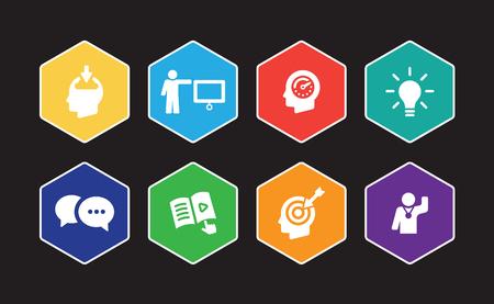 Learning Infographic Icon Set Illustration