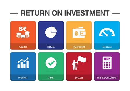 Return on Investment Infographic Icon Set Illustration