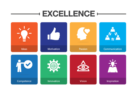 Excellence Infographic Icon Set Stock Illustratie