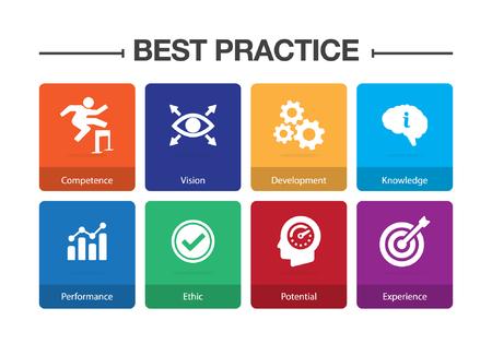 Conjunto de iconos de infografía de mejores prácticas