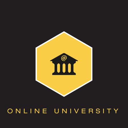 Online University Icon Illustration